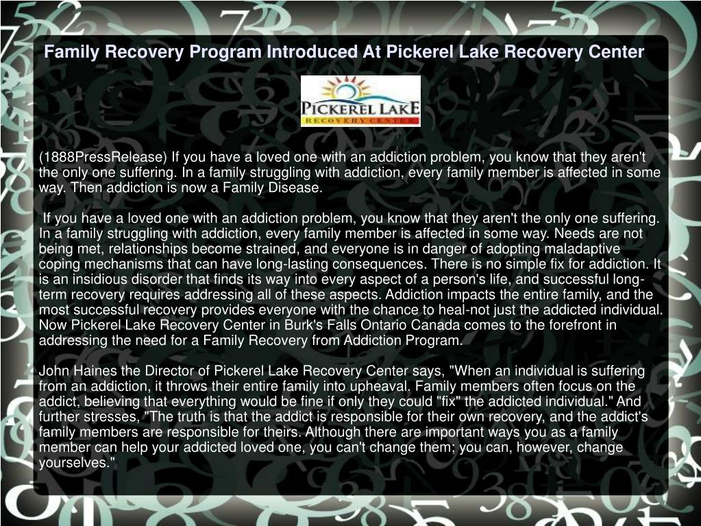 Family Recovery Program Introduced At Pickerel Lake Recovery Center