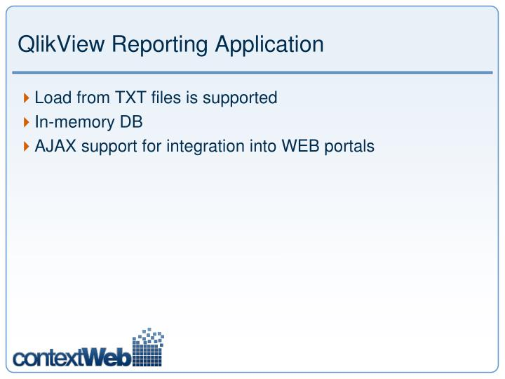 QlikView Reporting Application