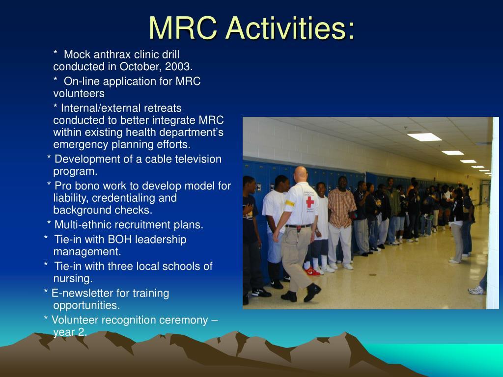 MRC Activities: