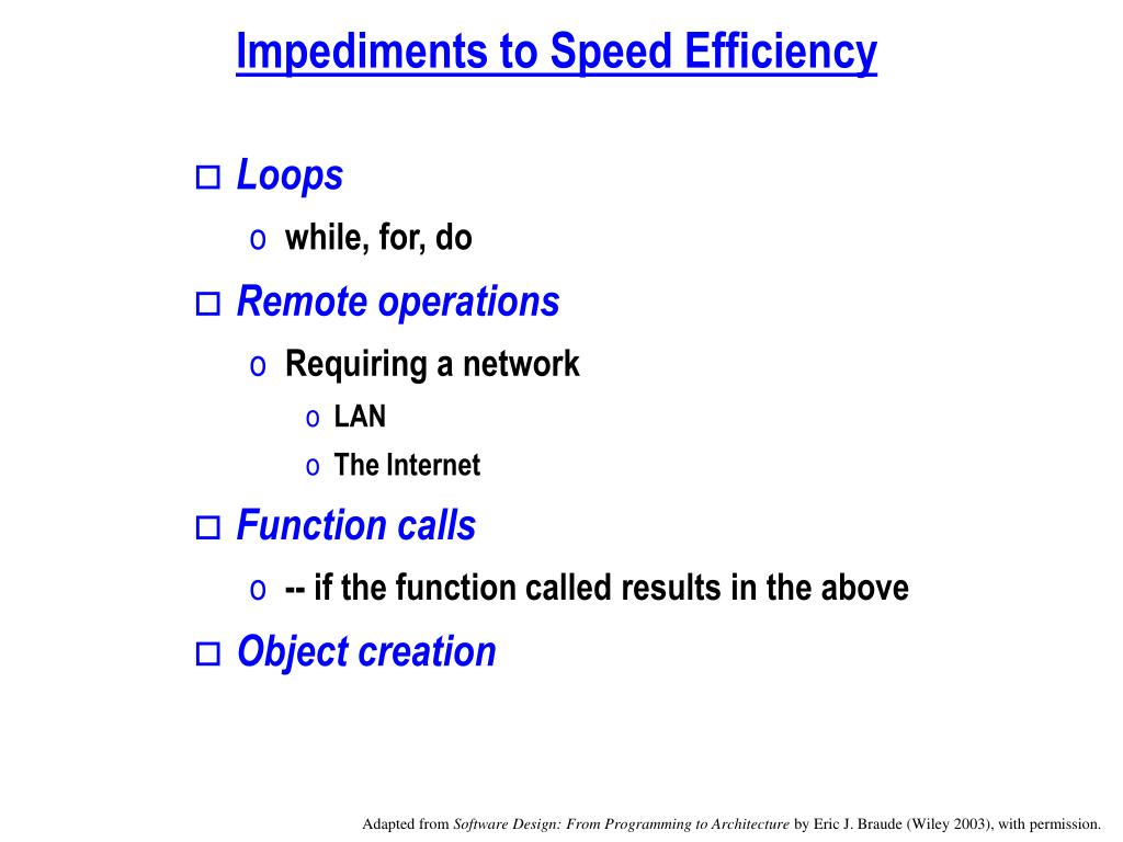 Impediments to Speed Efficiency