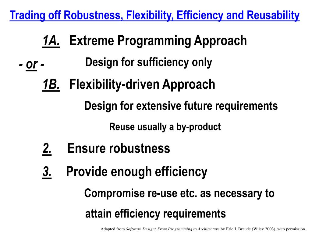 Trading off Robustness, Flexibility, Efficiency and Reusability