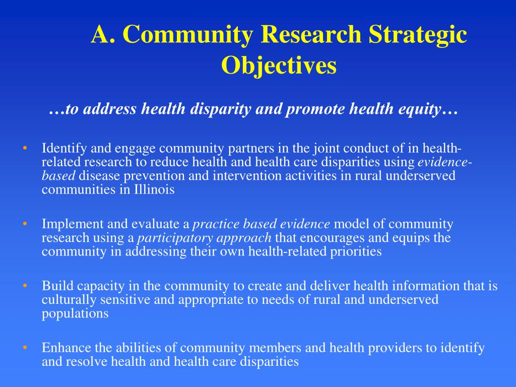 A. Community Research Strategic  Objectives