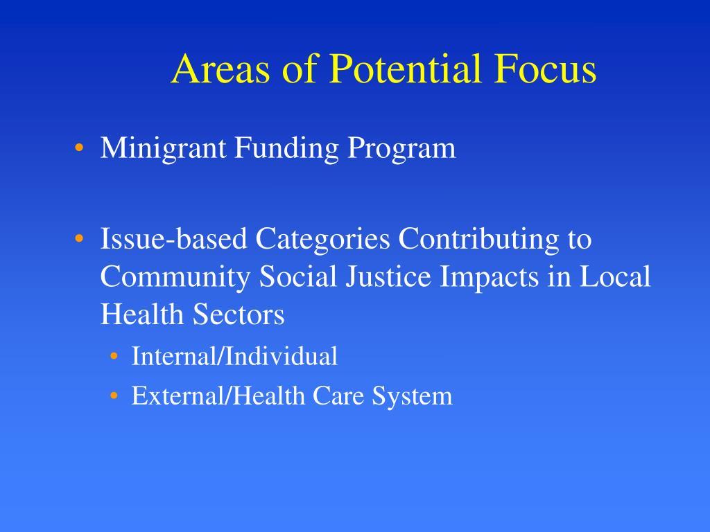 Areas of Potential Focus