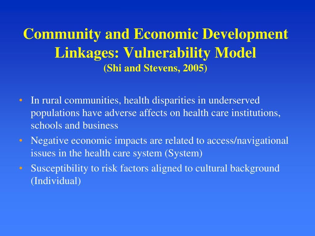Community and Economic Development Linkages: Vulnerability Model