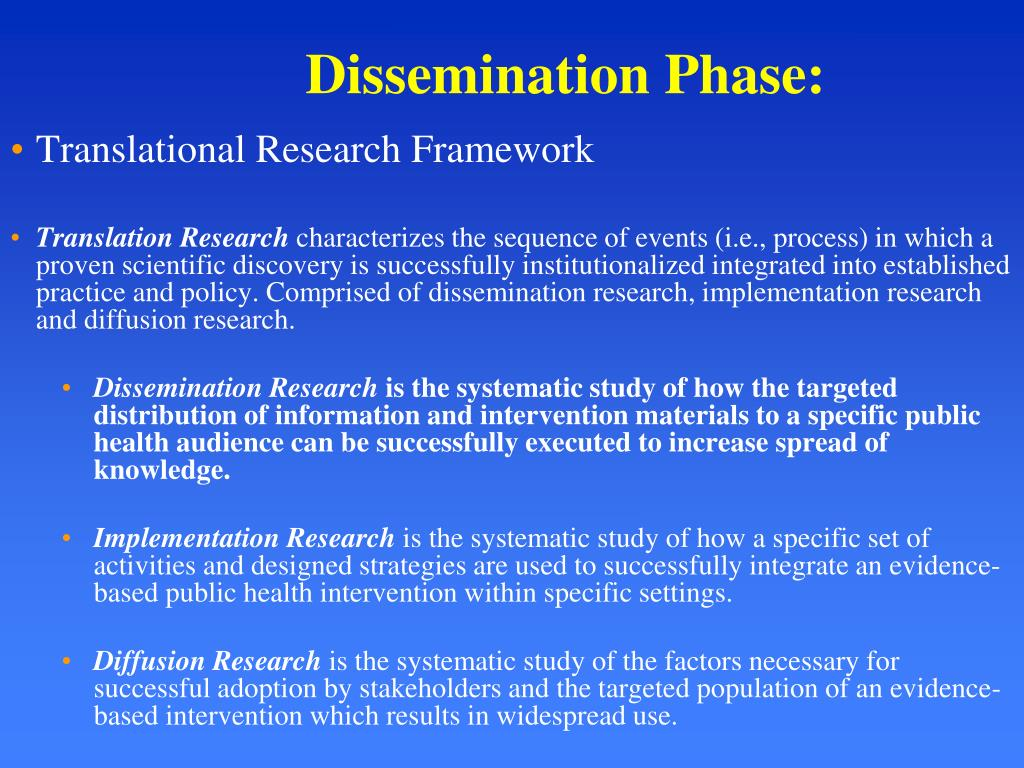 Dissemination Phase: