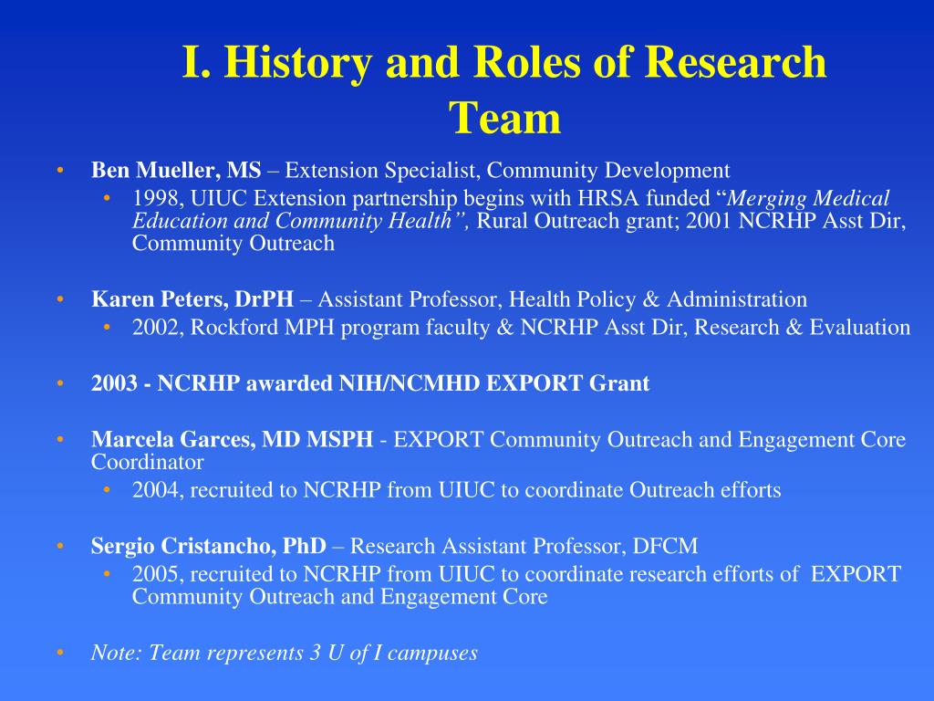 I. History and Roles of Research Team