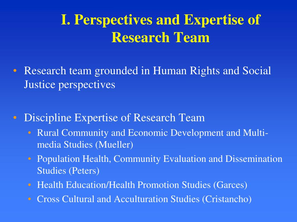 I. Perspectives and Expertise of Research Team
