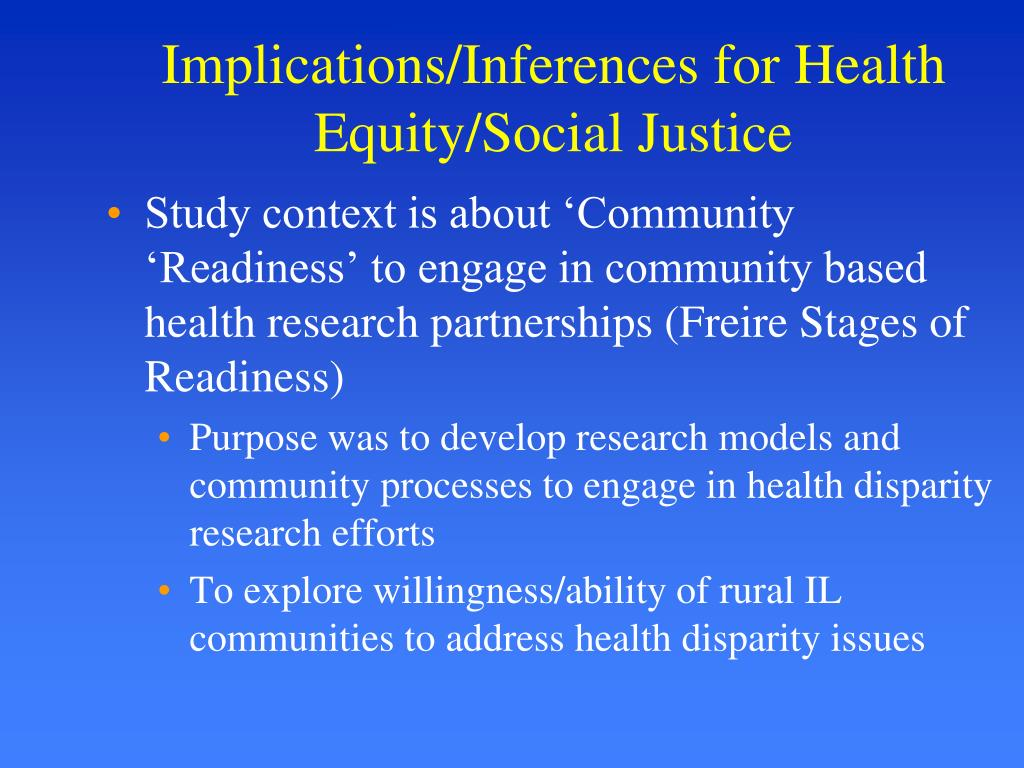 Implications/Inferences for Health Equity/Social Justice