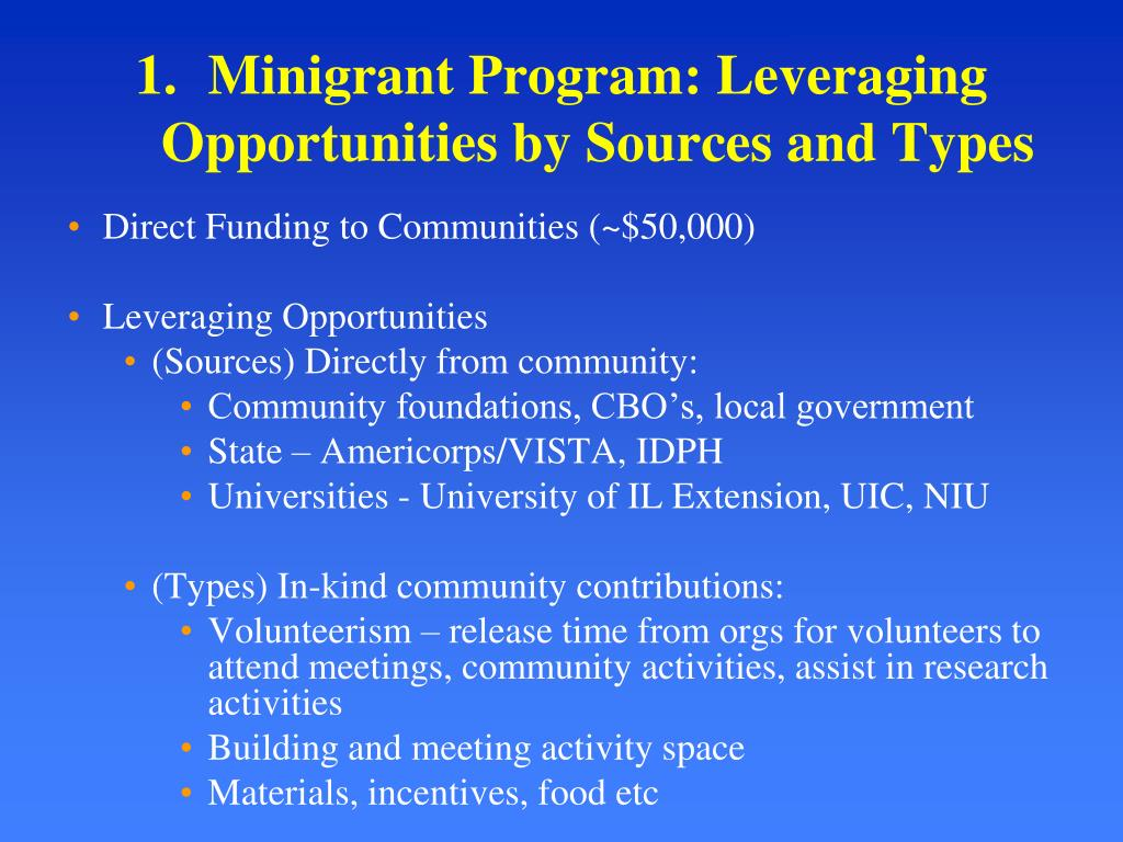 Minigrant Program: Leveraging Opportunities by Sources and Types