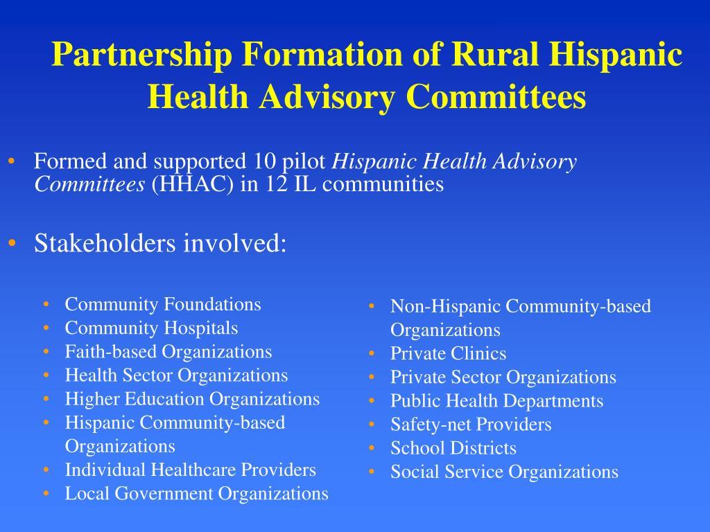 Partnership Formation of Rural Hispanic