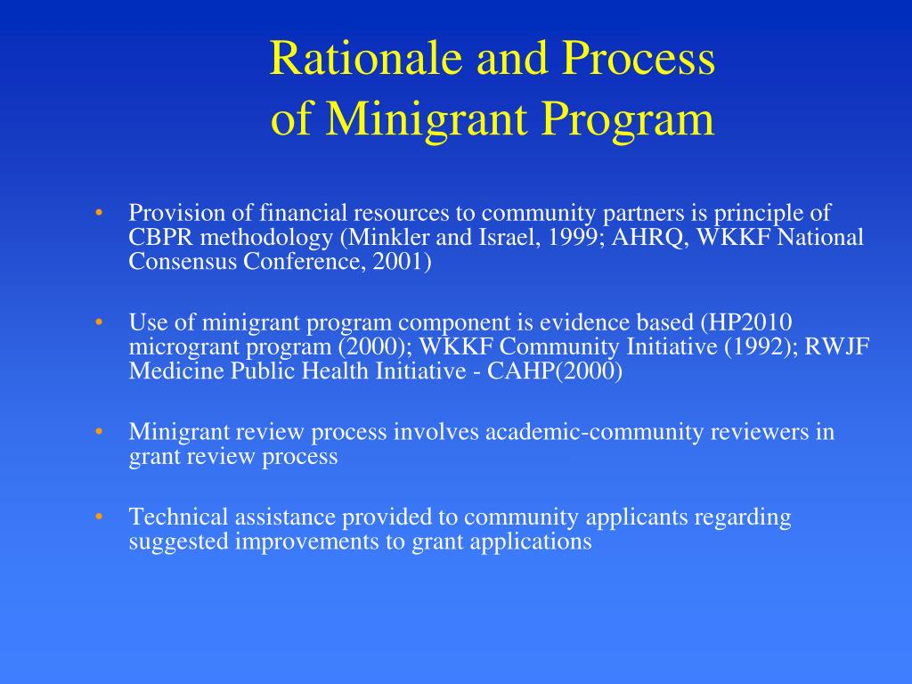 Rationale and Process