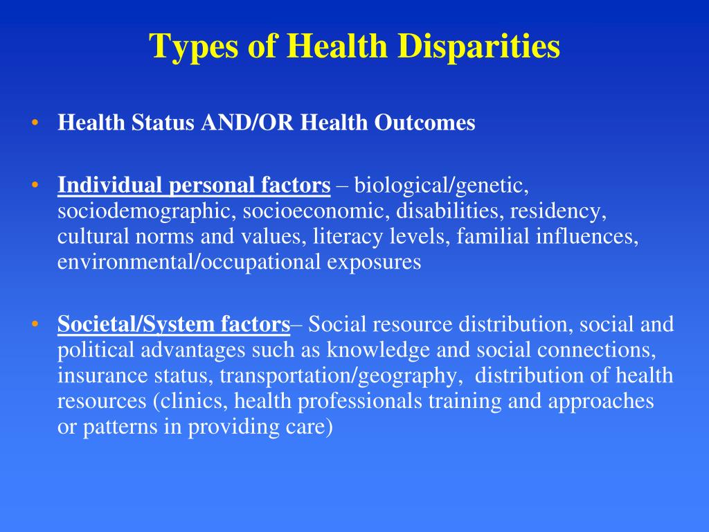 Types of Health Disparities