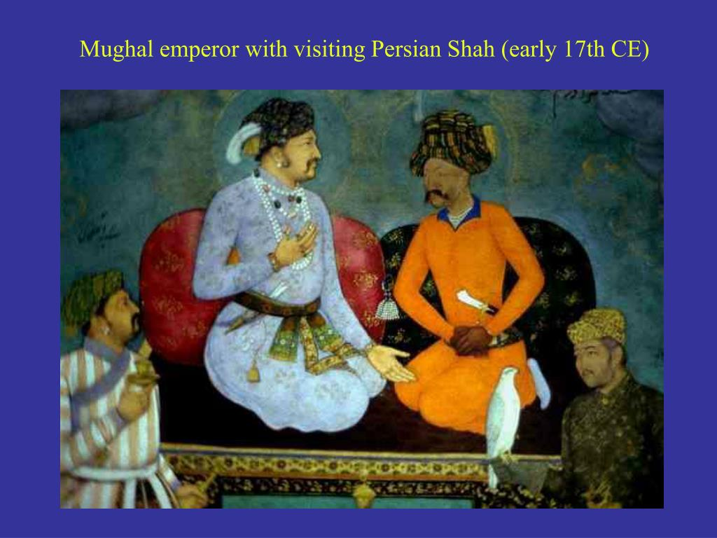 Mughal emperor with visiting Persian Shah (early 17th CE)