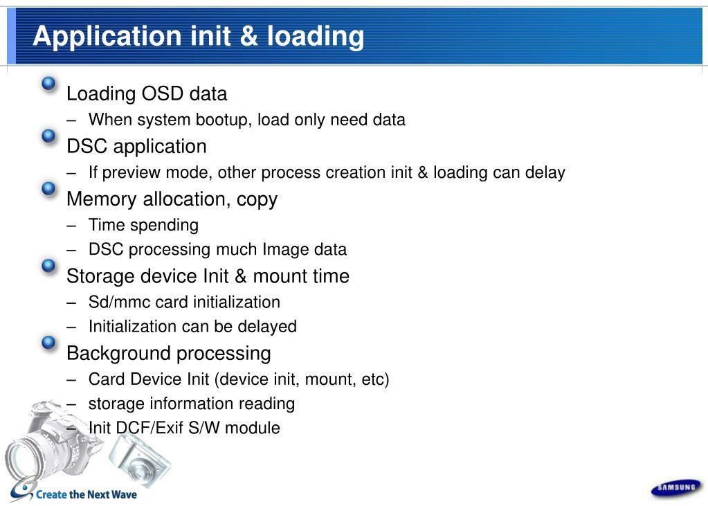 Application init & loading