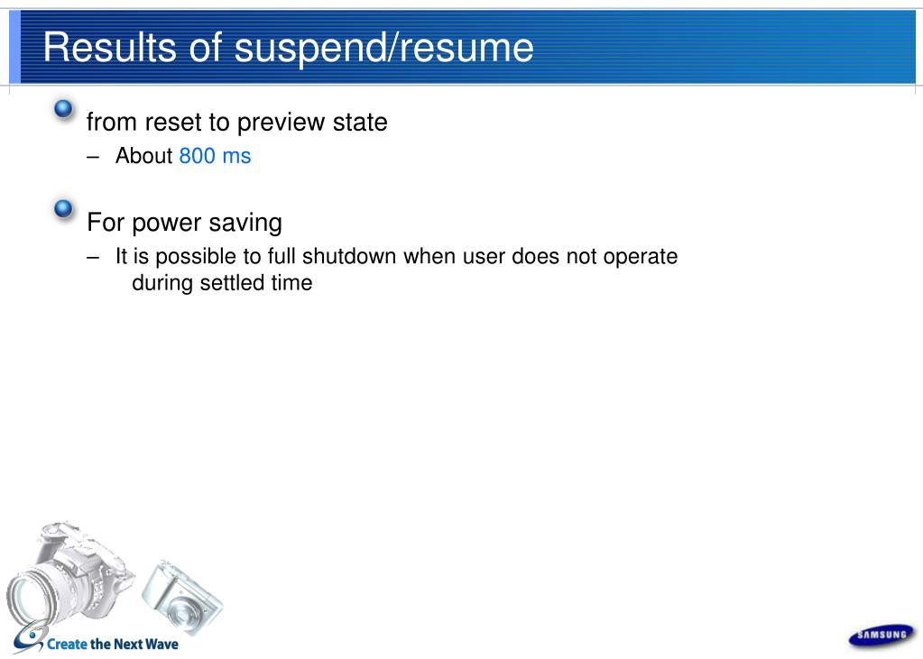 Results of suspend/resume
