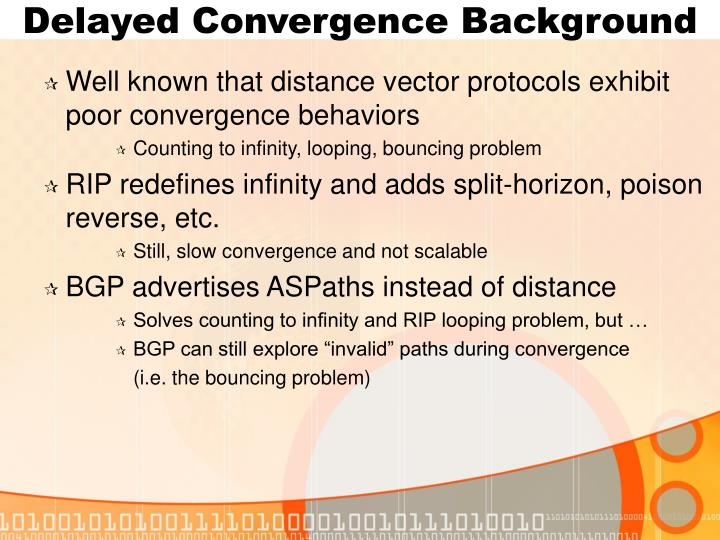 Delayed Convergence Background