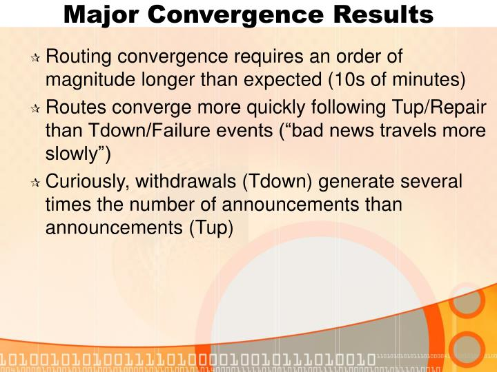 Major Convergence Results