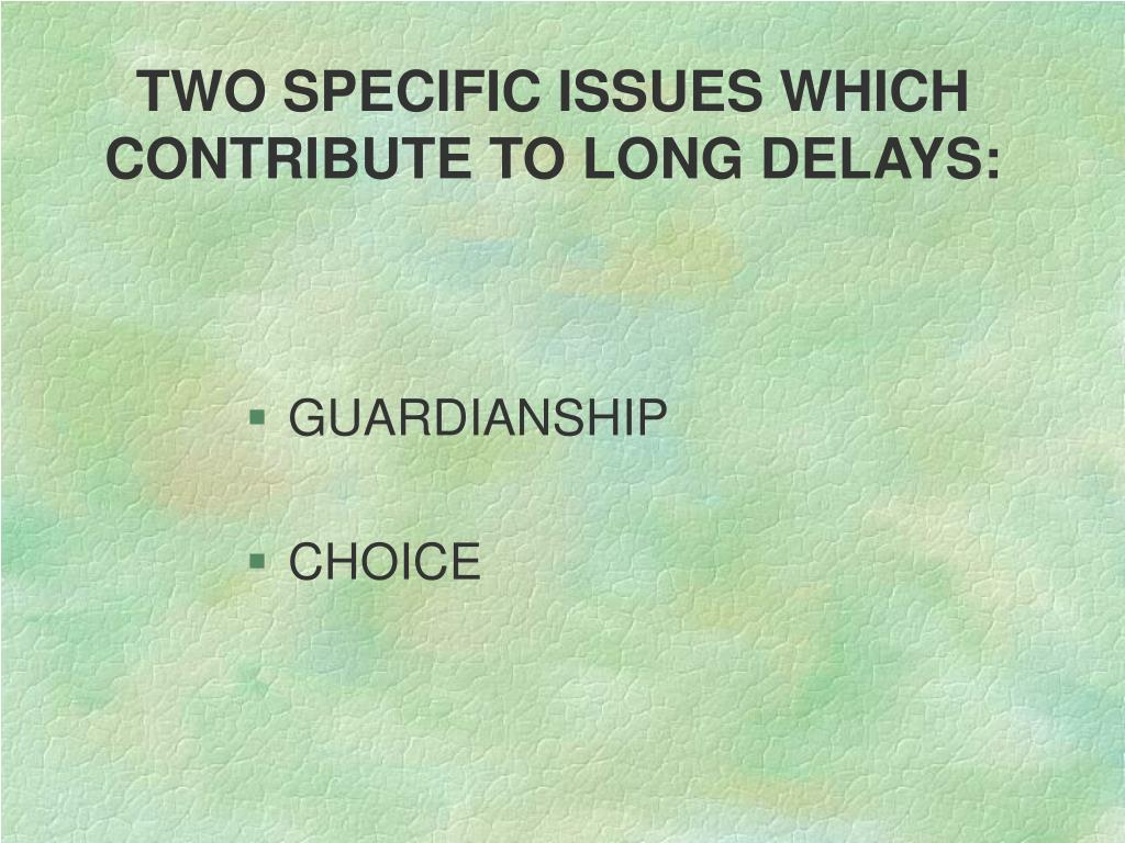 TWO SPECIFIC ISSUES WHICH CONTRIBUTE TO LONG DELAYS: