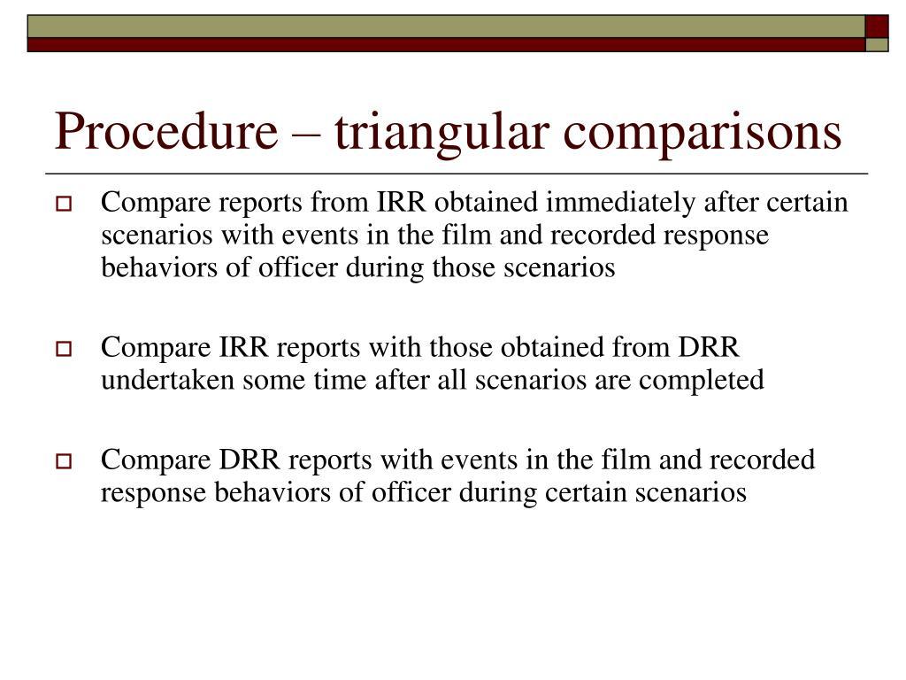 Procedure – triangular comparisons