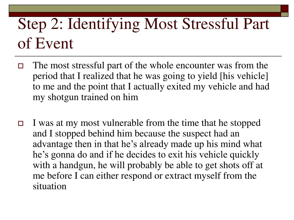 Step 2: Identifying Most Stressful Part of Event
