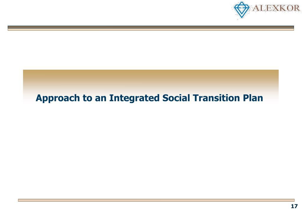 Approach to an Integrated Social Transition Plan