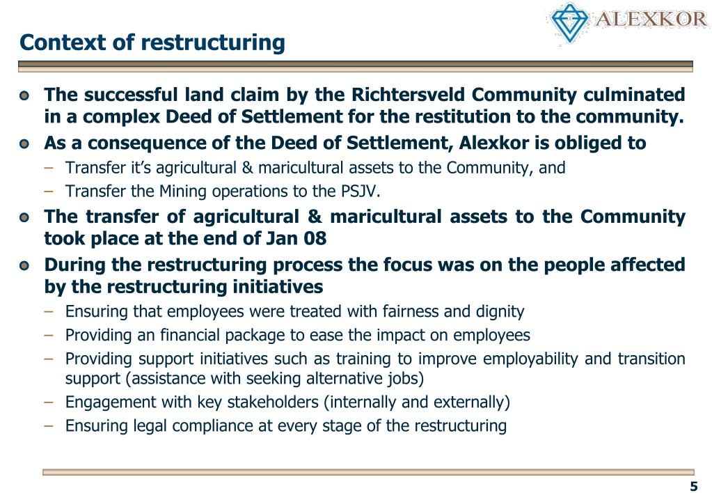 Context of restructuring