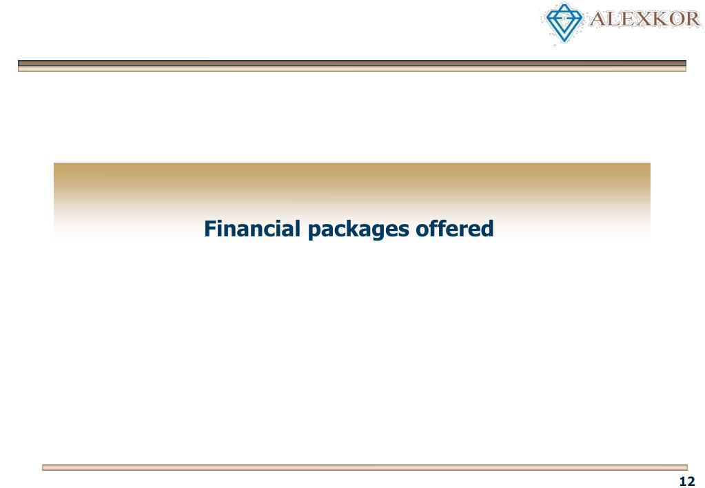 Financial packages offered