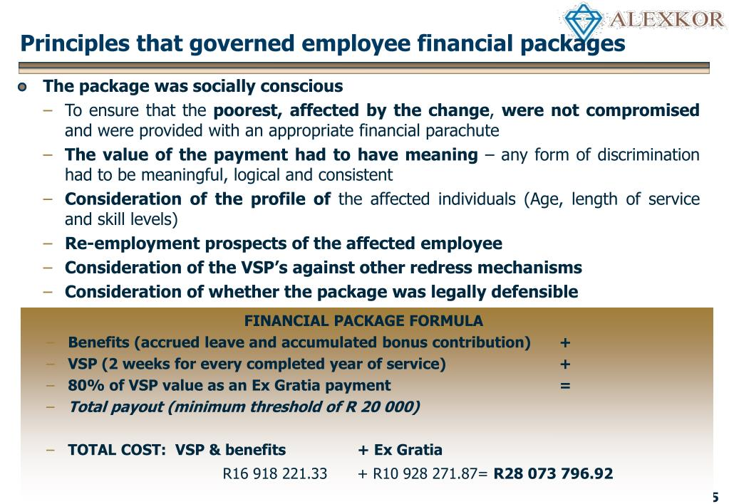 Principles that governed employee financial packages