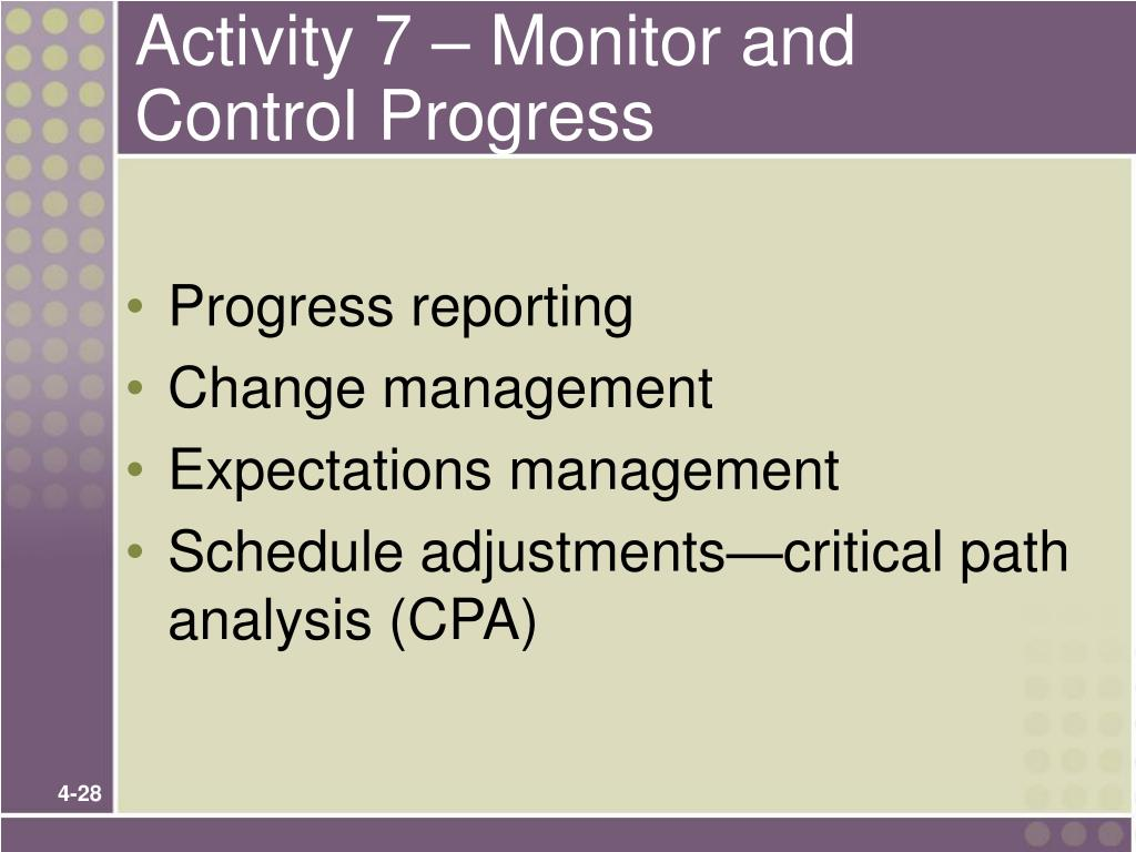 Activity 7 – Monitor and