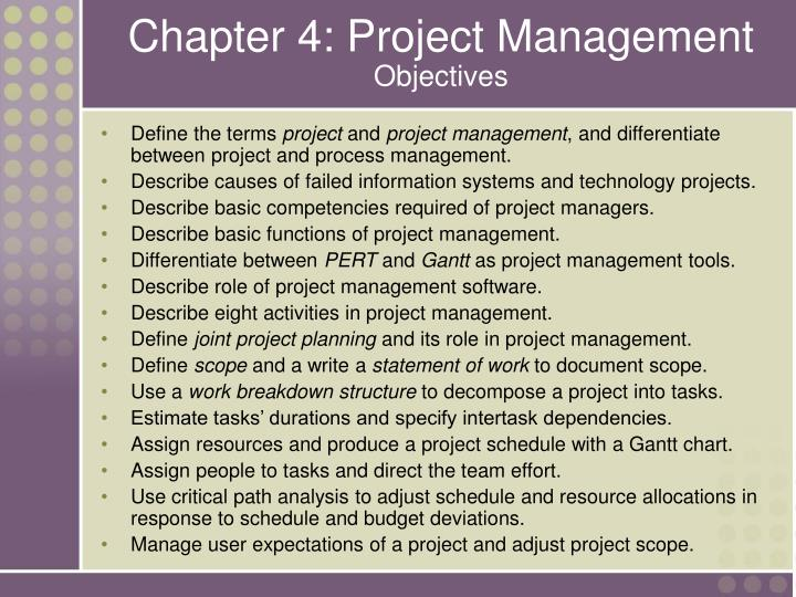 Chapter 4 project management objectives