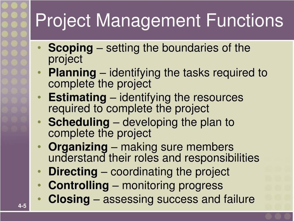 Project Management Functions