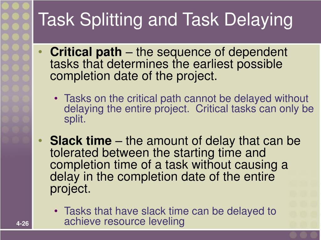 Task Splitting and Task Delaying