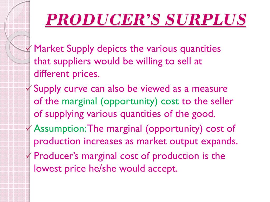 PRODUCER'S SURPLUS
