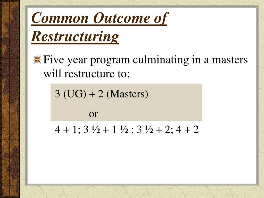 Common Outcome of Restructuring