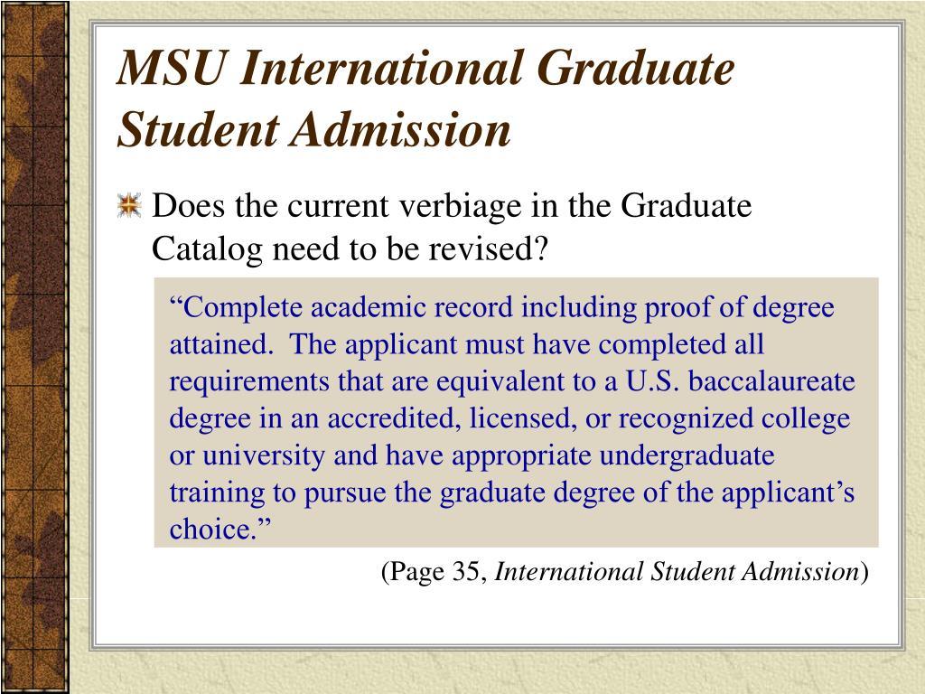 MSU International Graduate Student Admission