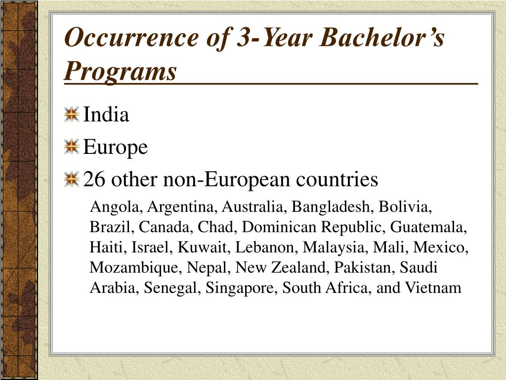 Occurrence of 3-Year Bachelor's