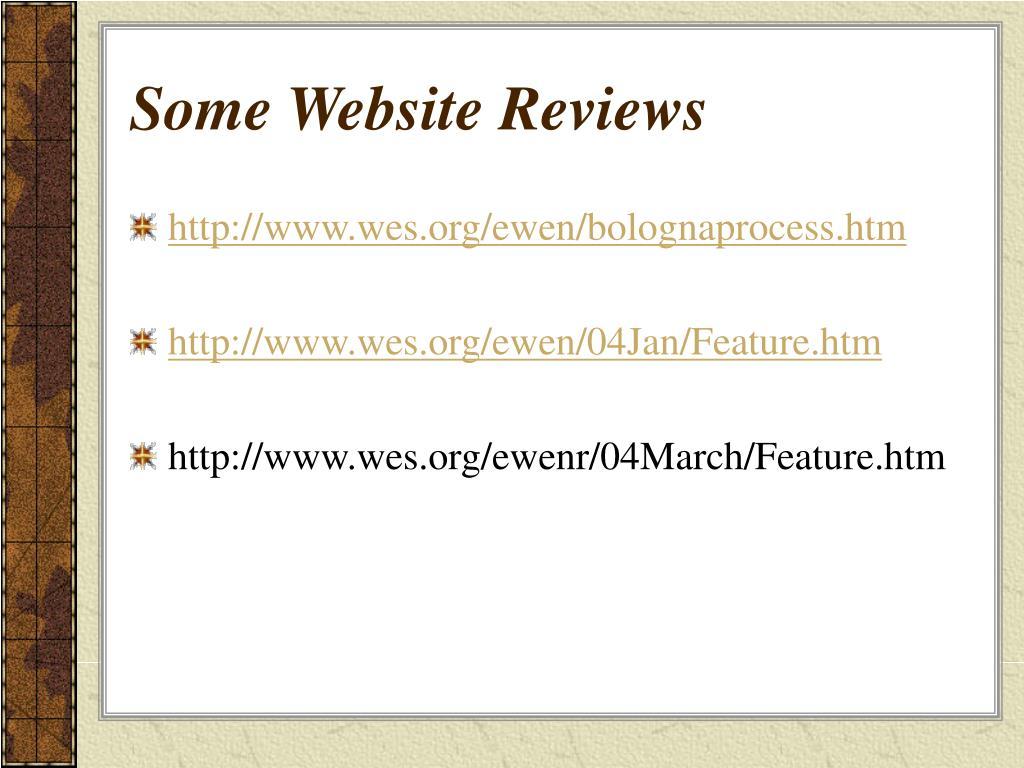 Some Website Reviews