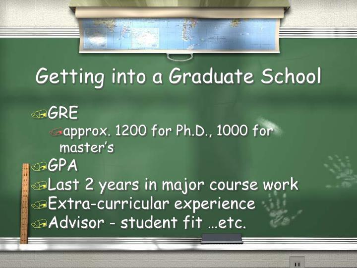 Getting into a graduate school