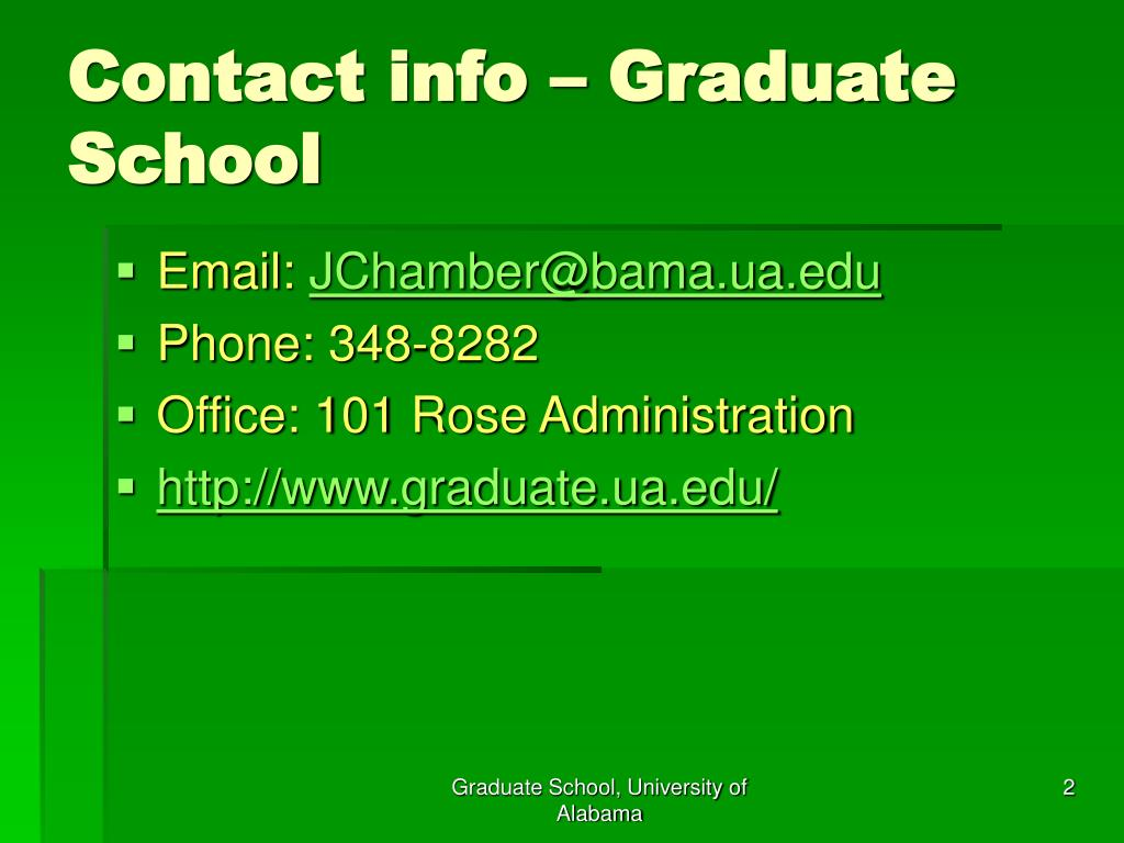 Contact info – Graduate School