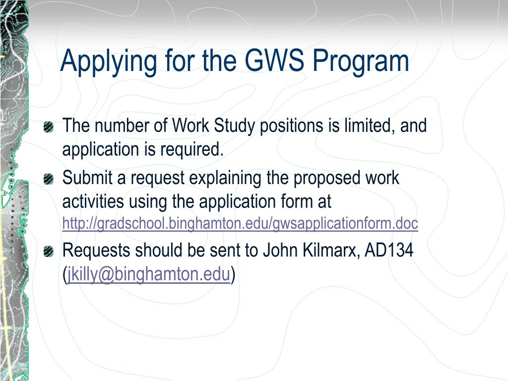 Applying for the GWS Program