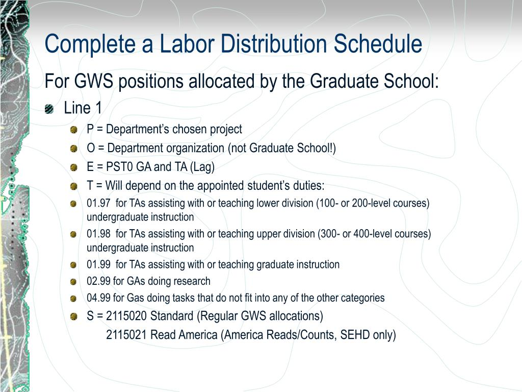 Complete a Labor Distribution Schedule