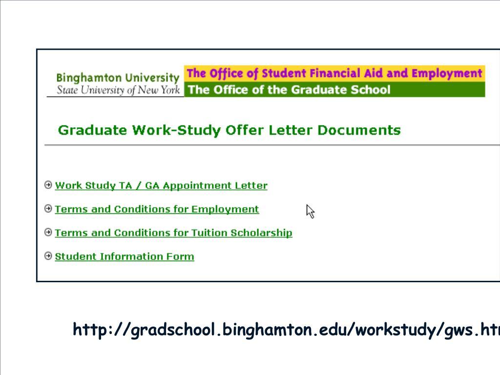 http://gradschool.binghamton.edu/workstudy/gws.htm