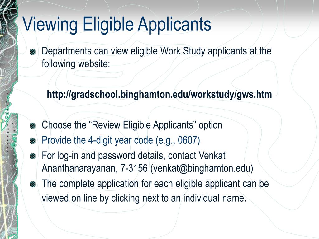 Viewing Eligible Applicants