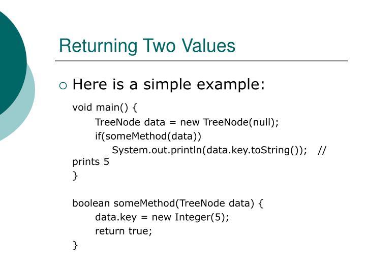 Returning Two Values