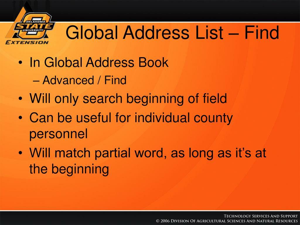 Global Address List – Find