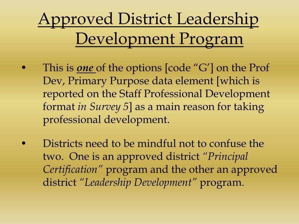 Approved District Leadership Development Program