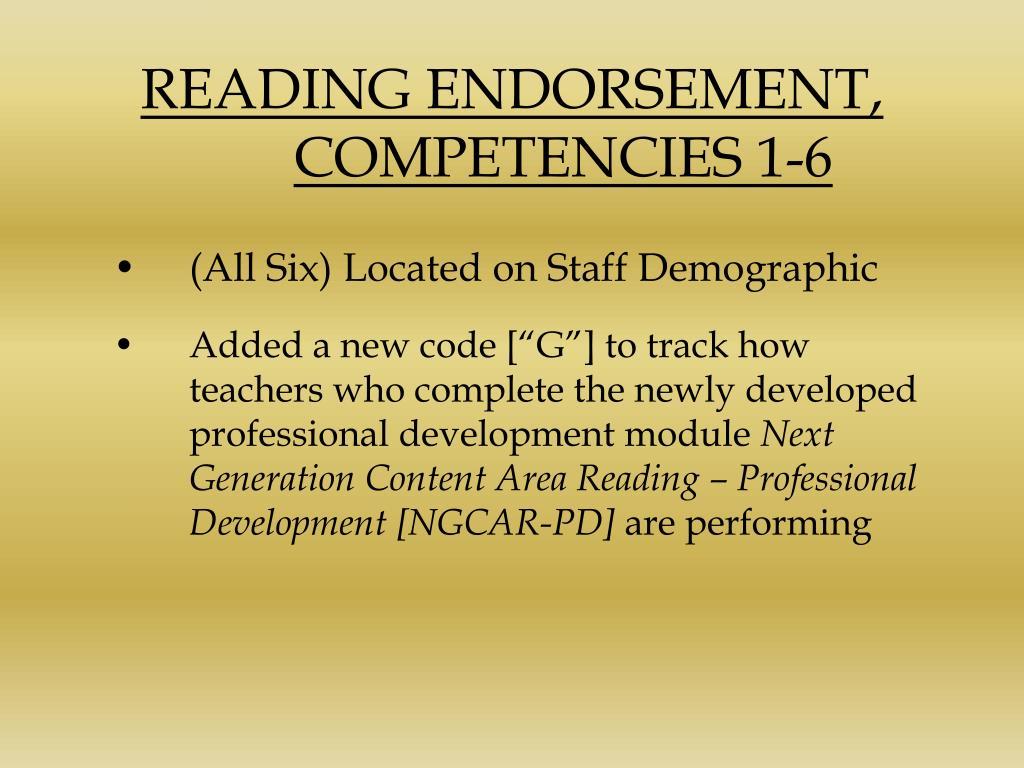READING ENDORSEMENT,