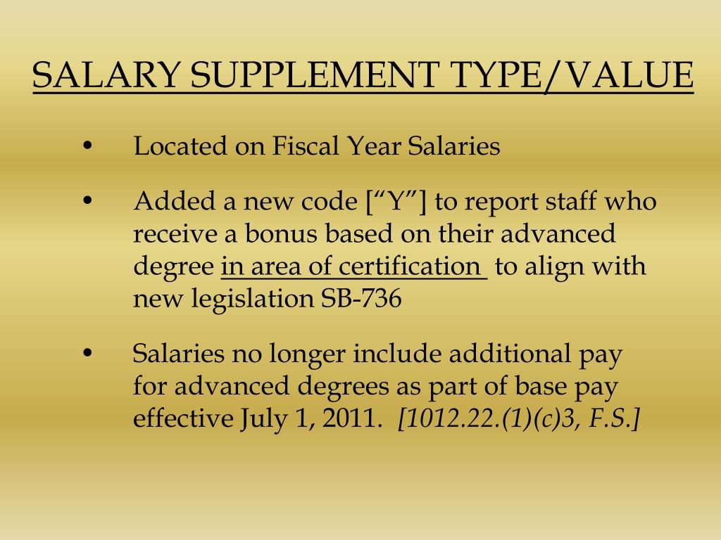 SALARY SUPPLEMENT TYPE/VALUE