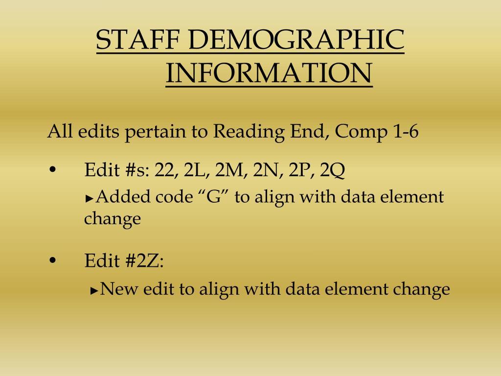 STAFF DEMOGRAPHIC INFORMATION