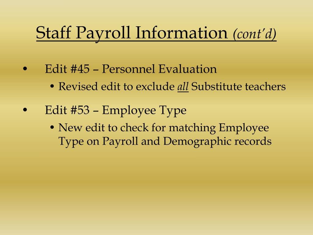 Staff Payroll Information